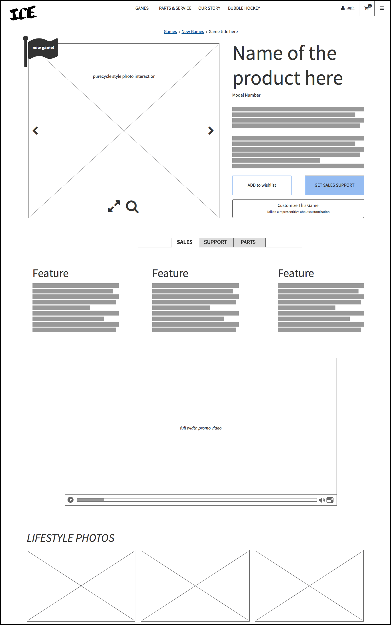 wireframes - product detail page